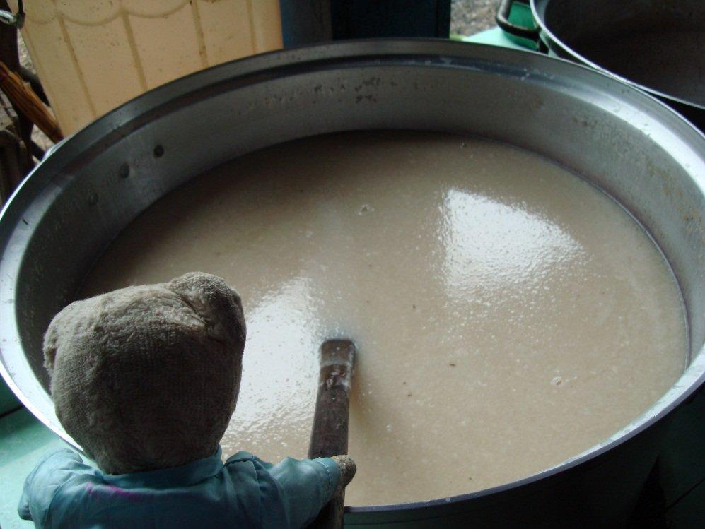 mélange chair et jus noix de coco